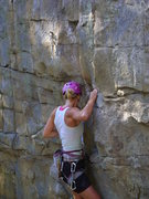 Rock Climbing Photo: Making the clip on Narcissism (5.10b)
