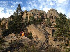 The Sunset Boulder as seen from below.