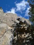 Rock Climbing Photo: Dave smears on the scarier, runout upper section.