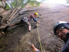 Rock Climbing Photo: Tree is officially ON when it's raining.  He's hav...
