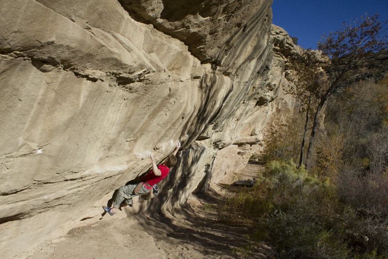 Midway through the first crux.