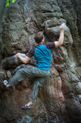 Rock Climbing Photo: Dynamic move up right to sloperish jug.