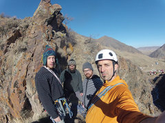 Rock Climbing Photo: All four of us at the top.  Took a while, but was ...