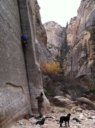 "Rock Climbing Photo: ""P.H."" Kroger on FA, Roy on belay"