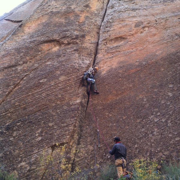 Zac on FA, Roy on belay...again