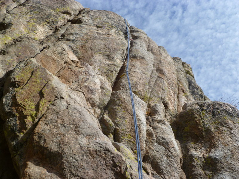 Rock Climbing Photo: The rope is in the crack.