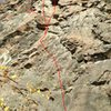 Mya's Climb (left).  Top right is variation (Mya's Roof).  Arrow is pointing to traverse line.