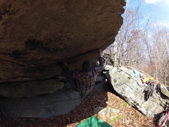 Rock Climbing Photo: Right at the crux!