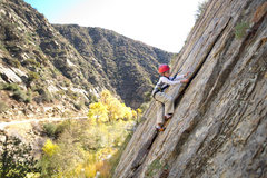 Rock Climbing Photo: Bryson Fienup (age 6) enjoys a stellar Fall day at...