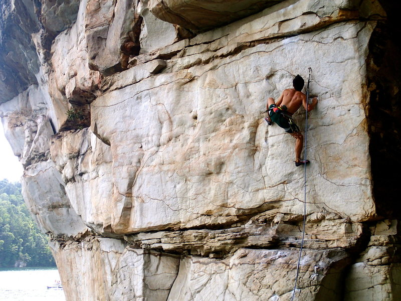 Rock Climbing Photo: On Reckless Abandon (5.12a), New River Gorge, WV  ...