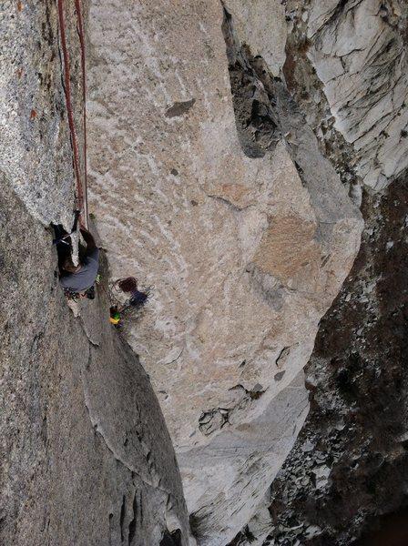 Rock Climbing Photo: Steep thin flake