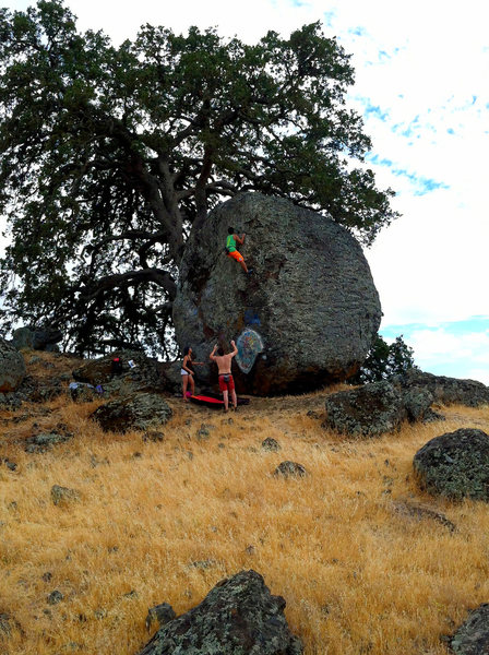 Rock Climbing Photo: On Mother Nature (V1 R), Nut Tree Boulders, CA