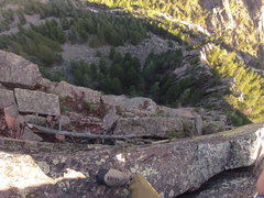 Rock Climbing Photo: Heavy Weather ledge before cleanup.