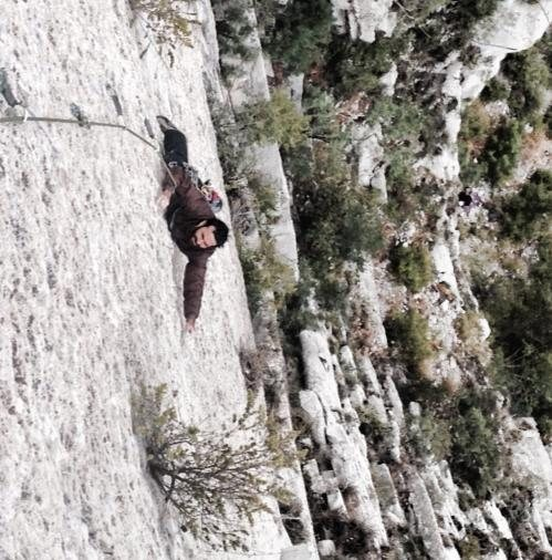 Rodrigo Garza on the crux pitch
