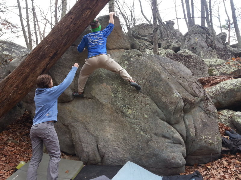 Rock Climbing Photo: topping out on Welcome to Hunters