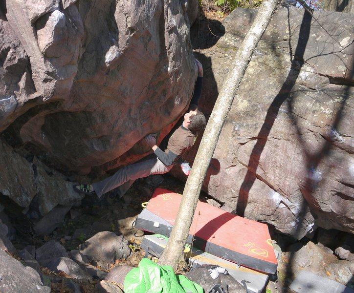 Rock Climbing Photo: Ian first move, flash.
