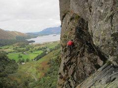 Rock Climbing Photo: Climber on Black Crag, Borrowdale Valley, NW Engla...