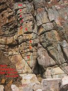 Rock Climbing Photo: topo  o = other bolts (2013) for other paths to ta...