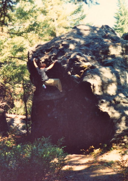Keith topping out on 'Schisthead' jugs.  No pad, but I did have a chalkbag. 1990