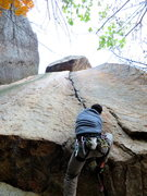 Rock Climbing Photo: Even after the crux roof, the line remains steep a...