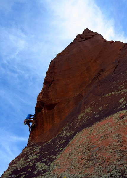 Moving through the crux. caughtinside on the final pitch of Tooth or Consequences. <br> <br> Photo: Corey Gargano