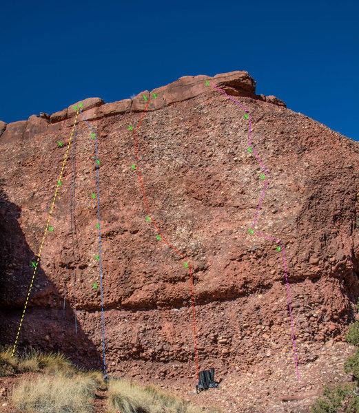 Yellow-Cobble Stoned 5.10c<br>  Blue- Pray to the Feather 5.11c<br> Red- Soaring Overhead 5.12a<br> Pink- Mouth Music 5.12a