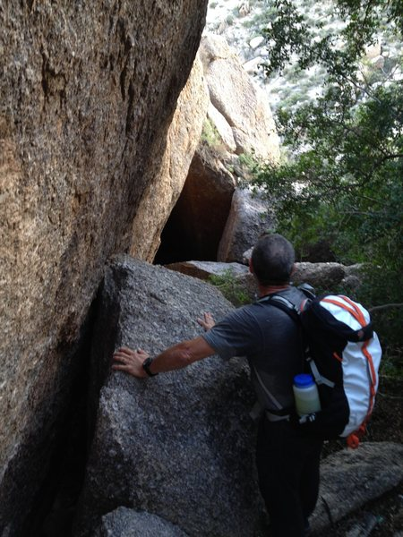Rock Climbing Photo: From the base of the climb, looking down the tunne...