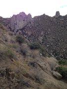 Rock Climbing Photo: Panorama of Gardener's Wall with Tom's Thumb in ba...
