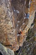 "Rock Climbing Photo: JJ plugging it in on the ""orange"" jug du..."