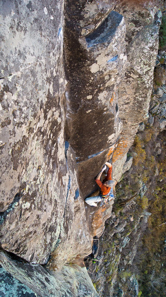 Rock Climbing Photo: The crux is followed by a stunning section of 5.10...