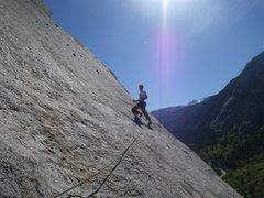 Rock Climbing Photo: first bolt after the traverse of Terror