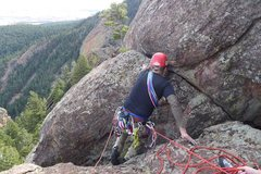 Rock Climbing Photo: Crossing the chimney/gash on P3.
