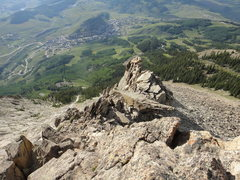 Rock Climbing Photo: Looking down from the start of the climb... the bo...