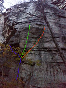 Rock Climbing Photo: Blue = Groovy Red = Space Invaders Green = Space I...