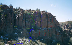 Rock Climbing Photo: A quick sketch of the approach trail and most of t...