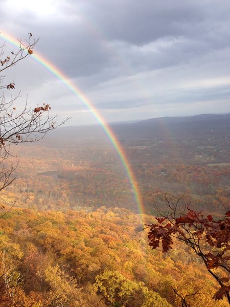 """Sunday Nov 3, 2013 -- An amazing rainbow right over the Trapps!  Taken by Jim Van Natta, from the GT ledge atop """"Morning After"""""""