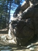 Rock Climbing Photo: Hard to see a small juniper in the rock, but a lar...