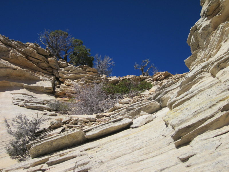 Rock Climbing Photo: Looking up from the top of the 4th pitch.  This sh...