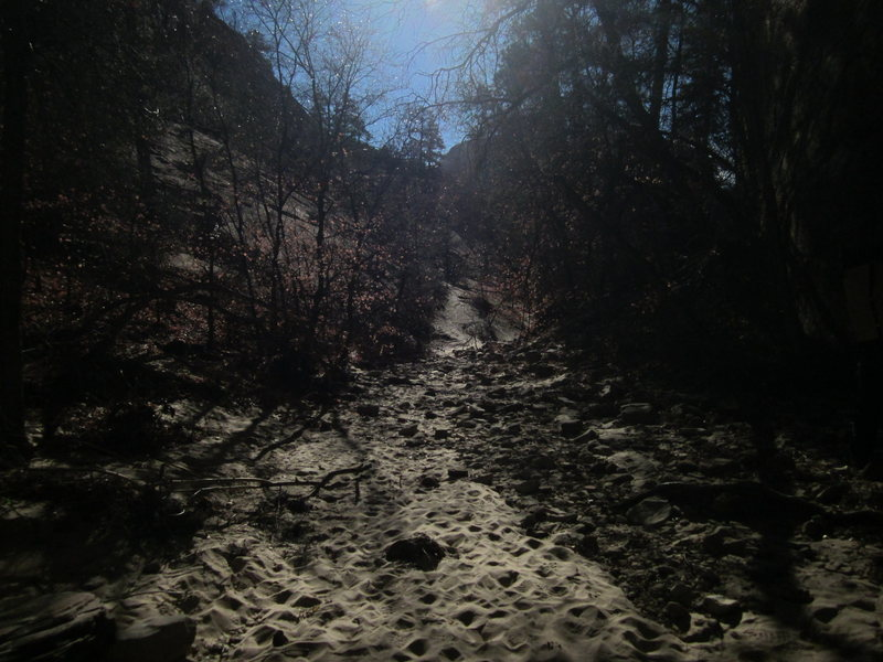 Rock Climbing Photo: The initial sandy approach gully coming from the r...