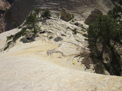 Rock Climbing Photo: Looking down at our packs from the approach ramp t...
