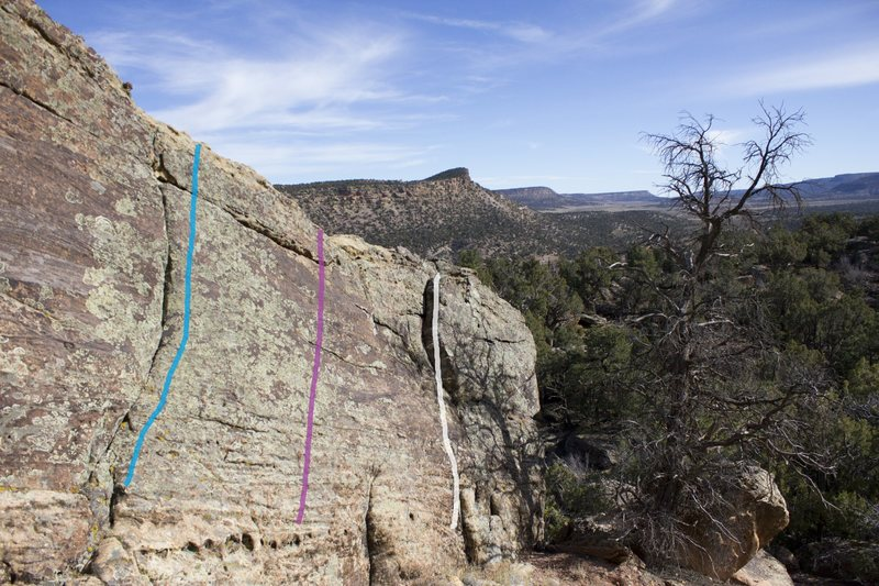Slabalicious Boulder route guide right side:<br> <br> Blue - Such Obvious, V0+/1-.<br> Purple - Expressions of Granularity, V1.<br> White - Downclimb.