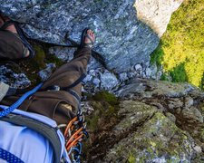 Rock Climbing Photo: The crux of the downclimb, a loose but easy chimne...