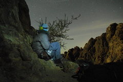 Rock Climbing Photo: Resting at the base of the Crooked Dick under moon...