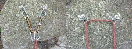Rope running through fixe rings