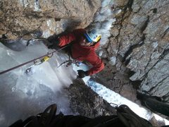 Rock Climbing Photo: Topping out on the ice pitch.