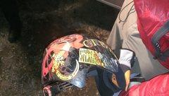 Rock Climbing Photo: Shingo's helmet from the fall