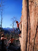 Rock Climbing Photo: Starting the crux on Clearcut.