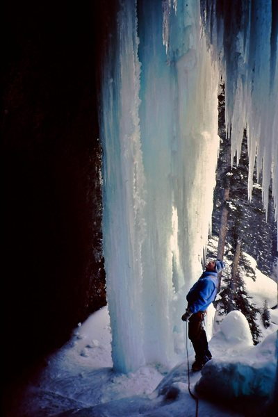 Yikes!  Steep Canadian Ice.<br> <br> Pilsner Pillar - mid '90's.  Yoho National Park, BC.<br> <br> Photo by Bret Ruckman