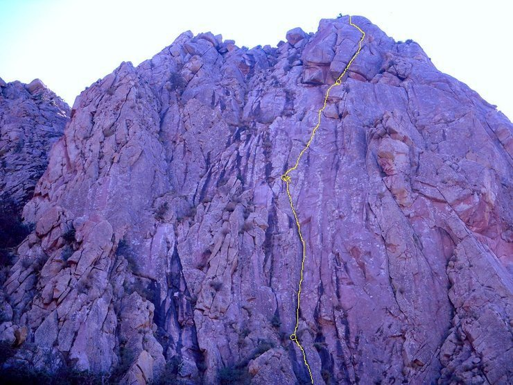 One version of the route. The crux dihedral is Pitch 2 in this image. Photo by [[106221979]].