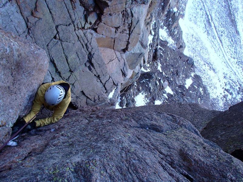 Rock Climbing Photo: Erik Wellborn pulling through the mixed crux.